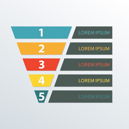 Funnel symbol infographic template. Business concept with 5 options for marketing and sales.