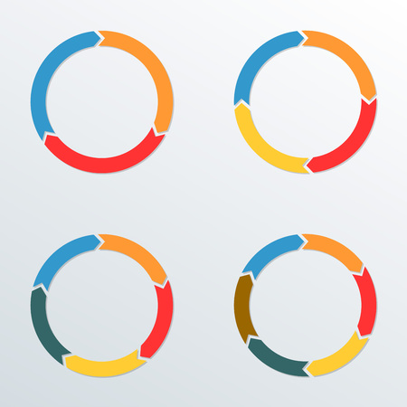 Circle arrows set. Circle Infographic template for process diagrams, chart, graph, web design and presentation with 3, 4, 5, 6 options or levels.