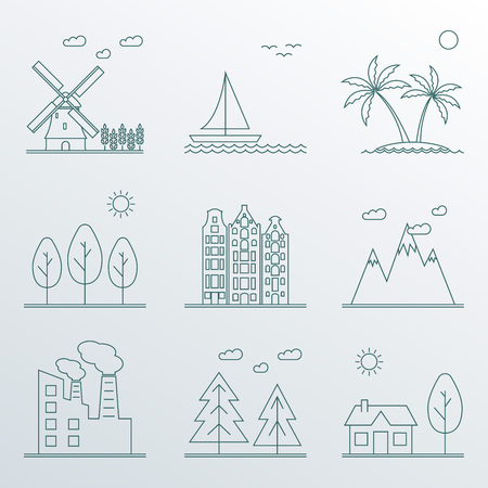 Landscape icons set in line style.