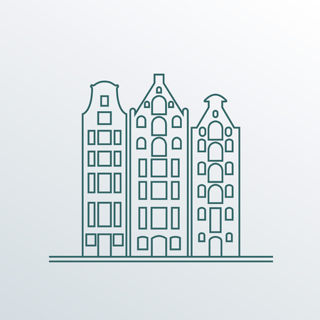 Buildings in old European style. City houses set. Landscape icon in line style. Vector illustration.