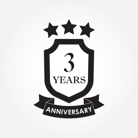 Icona o emblema di anniversario di 3 anni. Etichetta 3 ° anniversario. Celebrazione, invito e elemento di design di congratulazioni. Illustrazione vettoriale