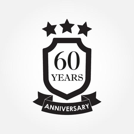 60 years anniversary icon or emblem. 60th anniversary label. Celebration, invitation and congratulation design element. Vector illustration Vektorové ilustrace