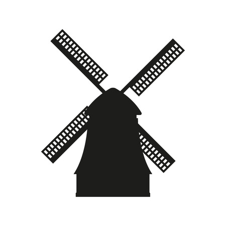 Windmill icon. Vector black silhouette of mill isolated on white background.