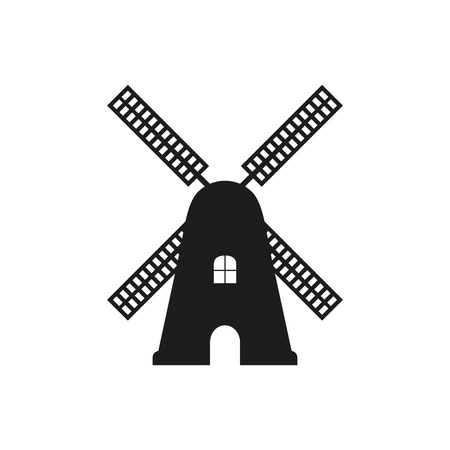Windmill icon. Vector black silhouette of mill isolated on white background. Reklamní fotografie - 114935104