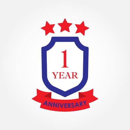 1 year anniversary icon or emblem. 1th anniversary label. Celebration, invitation and congratulation design element. Colorful vector illustration