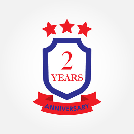 2 years anniversary icon or emblem. 2th anniversary label. Celebration, invitation and congratulation design element. Colorful vector illustration