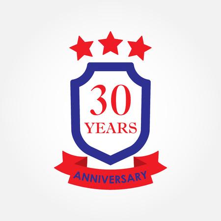 30 years anniversary icon or emblem. 30th anniversary label. Celebration, invitation and congratulation design element. Colorful vector illustration.