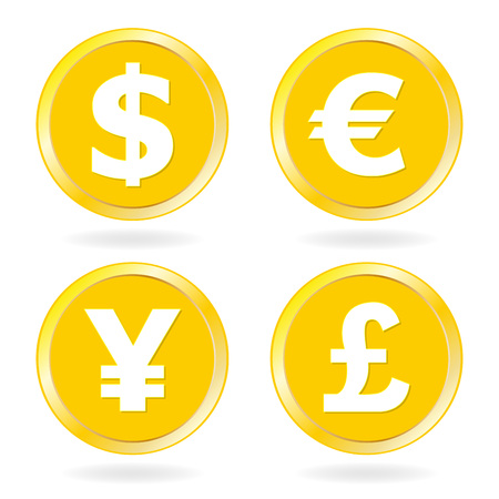 Dollar, Euro, Yen, Pound sterling. Gold coins icon set. Vector illustration.