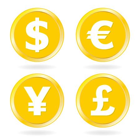 Dollar, Euro, Yen, Pound sterling. Gold coins icon set. Vector illustration.