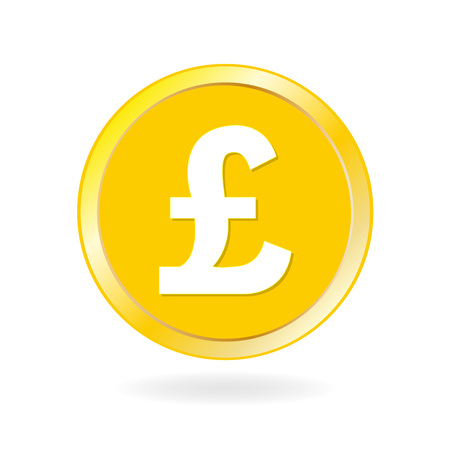 Coin icon. Gold coin with Pound sterling sign. Cash and money symbol. Vector illustration.