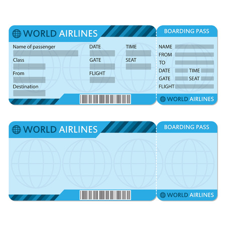 Airline or plane ticket template. Boarding pass blank and airplane ticket. Vector illustration.