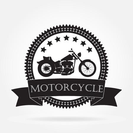 Motorcycle label. Vintage motorcycle or chopper emblem, badge, banner. Vector illustration