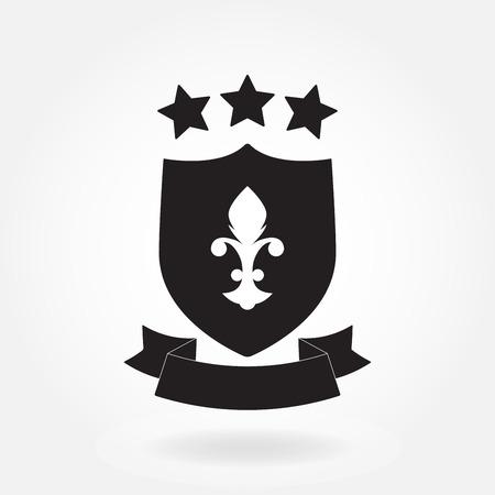 Shield icon. Blazon with ribbon and stars. Heraldic royal design element. Vector illustration.