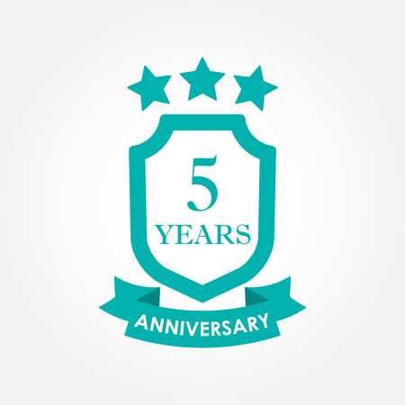 5 years anniversary icon or emblem. 5th anniversary label. Celebration, invitation and congratulation design element. Colorful vector illustration.