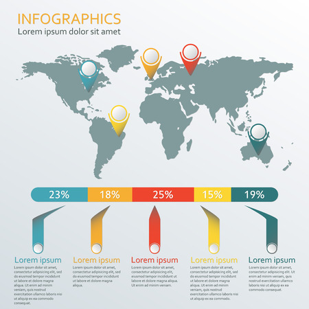 World map Infographic template. Information and infographics design elements. Vector illustration
