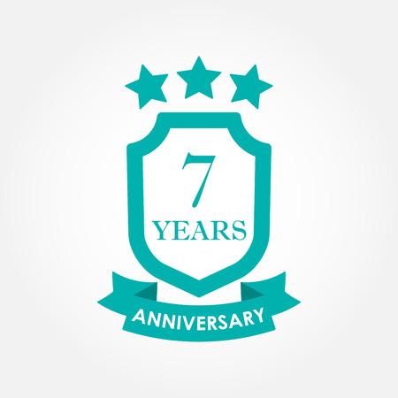 7 lat rocznica ikona lub godło. Etykieta 7. rocznicy. Element projektu uroczystości, zaproszenia i gratulacje. Ilustracja wektorowa kolorowe.