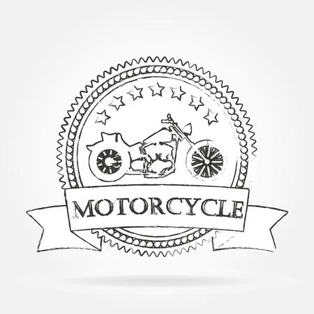 Motorcycle label. Vintage motorcycle or chopper emblem, badge, banner. Hand drawn design. Vector illustration.