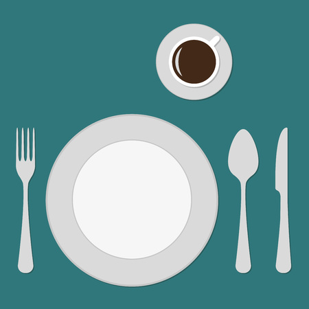 Plate, knife, fork, spoon and cup. Top view of table setting. Flat design. Vector illustration.