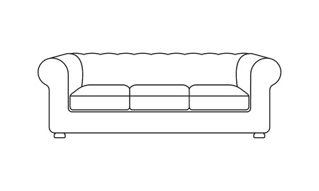 Sofa line icon. Vintage or retro sofa. Furniture icon. Vector illustration of outline sofa silhouette.