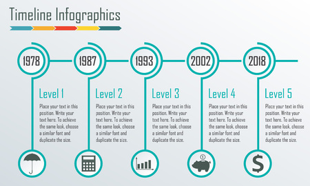 timeline infographics template horizontal design elements vector