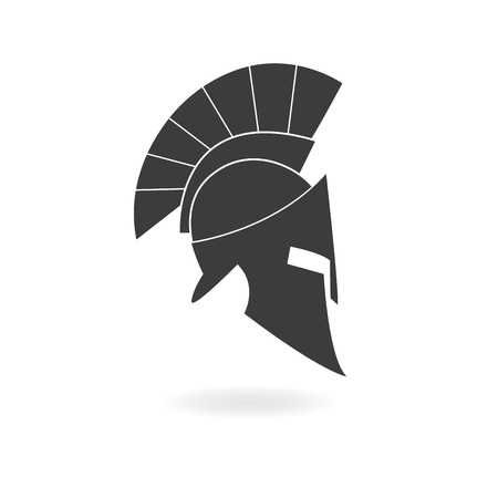 Spartan helmet icon. Ancient Roman or Greek helmet with feathered crest. Metal helmet for head protection. Vector illustration