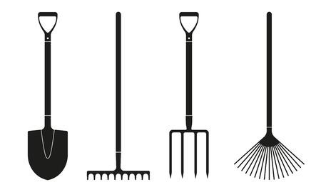 Icone di pala o vanga, rastrello e forcone isolate su priorità bassa bianca. Progettazione di attrezzi da giardinaggio. Illustrazione vettoriale.