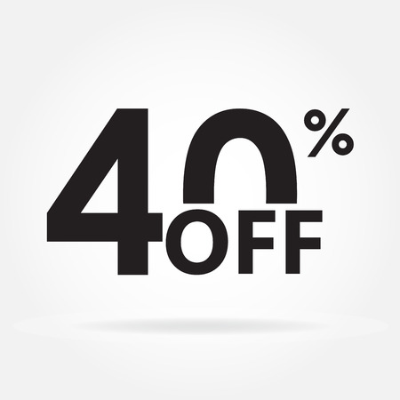40% off. Sale and discount price sign or icon. Sales design template. Shopping and low price symbol. Vector illustration.