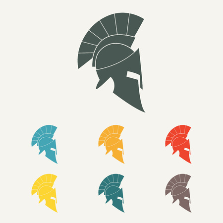 Spartan helmet flat icon. Ancient Roman or Greek helmet with feathered crest. Colorful vector illustration. Illustration