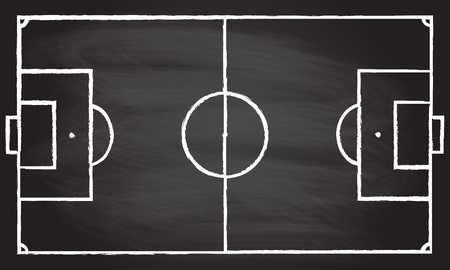 Football or soccer game field isolated on blackboard texture with chalk rubbed background. Vector illustration.
