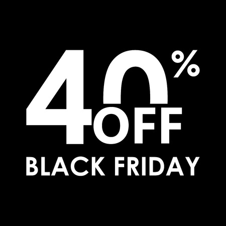 40% off. Black Friday design template. Sales, discount price, shopping and low price symbol. Vector illustration. 向量圖像