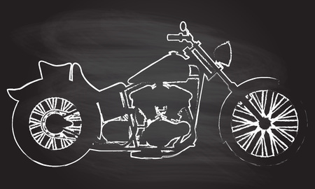 Motorcycle icon or sign. Vector black silhouette of bike or motorcycle isolated on blackboard texture with chalk rubbed background.