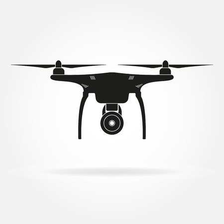 Drone icon. Copter or quadrocopter with camera black silhouette. Vector illustration. Illustration