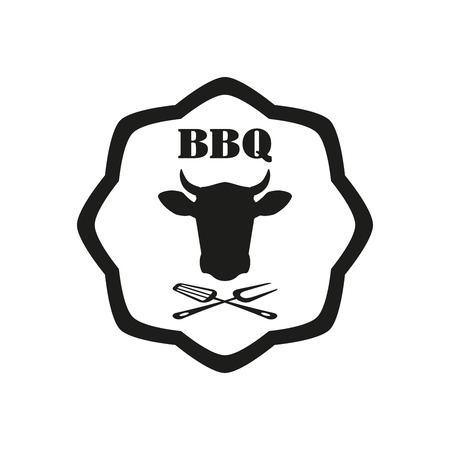 Barbecue label or BBQ stamp with beef emblem isolated on white background. Grill menu design template. Vector illustration.  イラスト・ベクター素材
