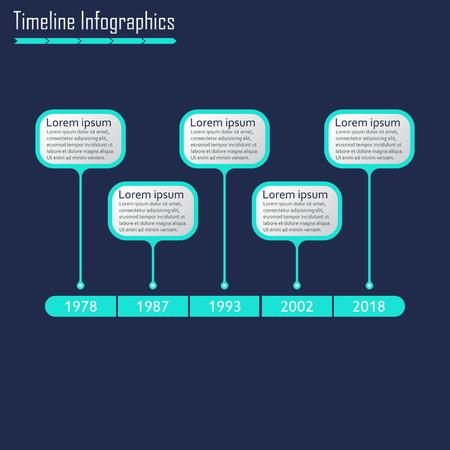 Plantilla de infografías de línea de tiempo. Elementos de diseño de infografía de línea de tiempo horizontal. Ilustración vectorial. Ilustración de vector