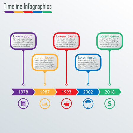 Timeline Infographics template. Horizontal Timeline Infographic design elements. Colorful vector illustration.