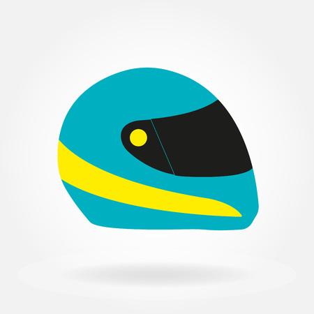 Motorcycle helmet. Racing moto helmet. Colorful vector illustration.