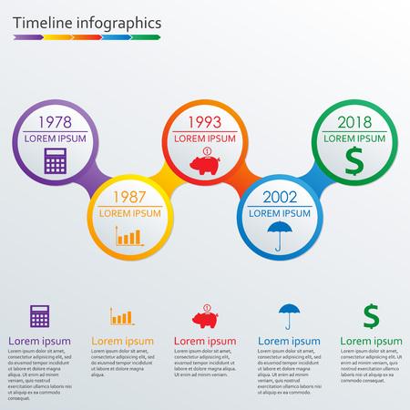 Plantilla de infografías de línea de tiempo. Elementos de diseño de infografía de línea de tiempo horizontal. Ilustración de vector colorido. Ilustración de vector