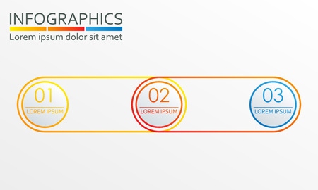 Infographics design template with 3 steps, options or levels. Outline chart, scheme, diagram or menu template. Vector illustration.