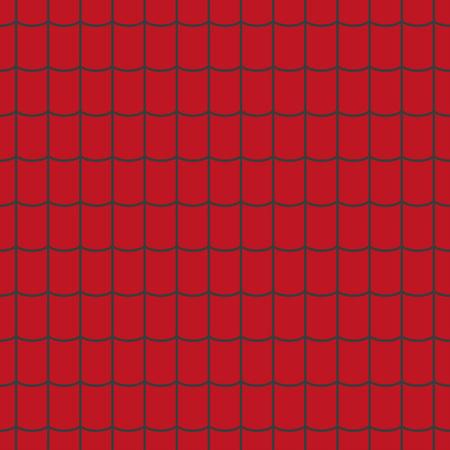 Dachziegel Textur. Nahtloses Muster der roten Dachziegel. Vektorillustration.