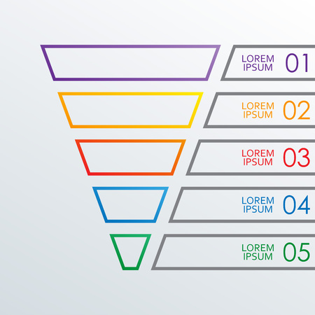 Funnel outline infographics template. 5 steps, options or levels funnel. Marketing, sales and business infographic design elements. Colorful vector illustration. Stock Illustratie
