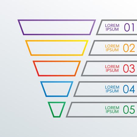 Trichter Gliederung Infografiken Vorlage. 5 Schritte, Optionen oder Ebenen Trichter. Marketing-, Vertriebs- und Business-Infografik-Designelemente. Bunte Vektorillustration.