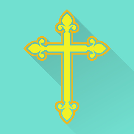 Religion cross icon in flat style. Catholicism or Christianity cross design template. Vector illustration. Illustration
