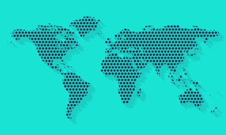 World map dotted pattern. World map with dots. Vector illustration.