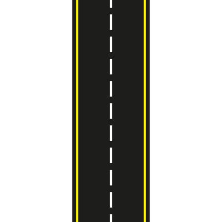 Carretera asfaltada. Camino sin problemas aislado sobre fondo blanco. Ilustración de vector.
