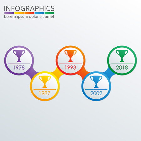 Timeline infographics template with Trophy Cups and rings. Winning cups award. Vector illustration.