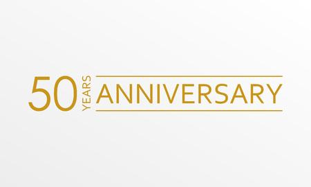 Emblème d'anniversaire de 50 ans. Icône ou étiquette d'anniversaire. Élément de conception de célébration et de félicitation de 50 ans. Illustration vectorielle.