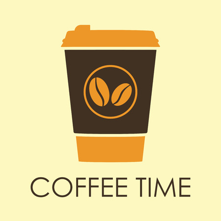 Coffee time banner with disposable cup of coffee icon. Vector illustration. Stock Illustratie