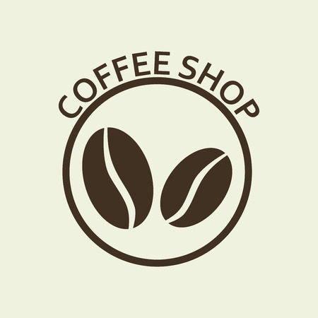 Coffee shop sign, emblem or label with coffee beans icon. Vector illustration.