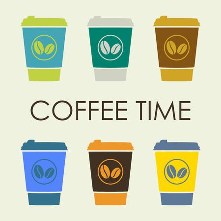 Koffie set met wegwerp kopje koffie pictogram. Vector illustratie.