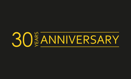 Emblema di 30 anni anniversario. Icona o etichetta dell'anniversario. Elemento di design di celebrazione e congratulazioni di 30 anni. Illustrazione vettoriale.